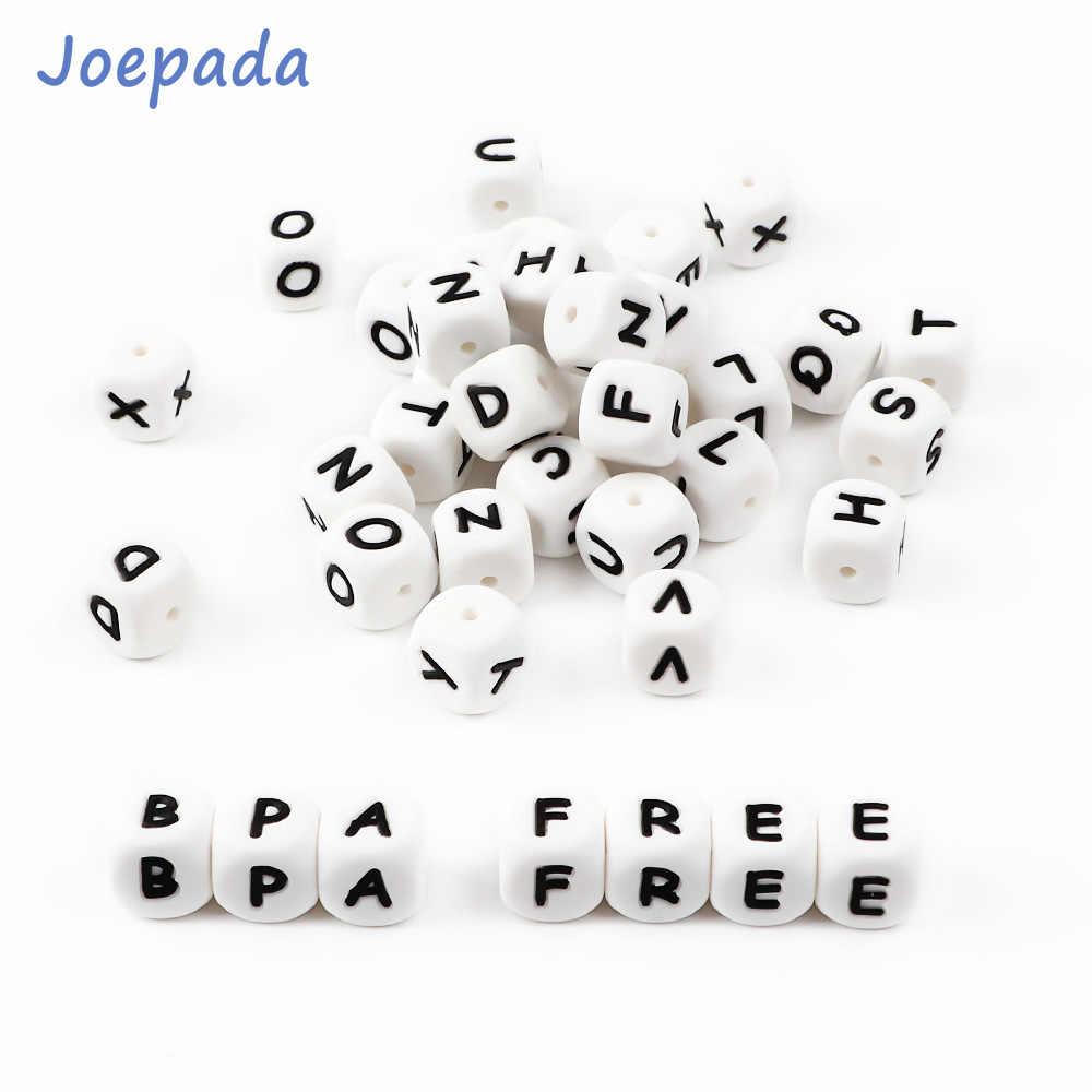 Joepada 12mm 10 piezas cuentas de silicona carta bebé mordedor cuentas en sert en chupete Cadena de chupete Clips de alfabeto cuentas bebé juguete