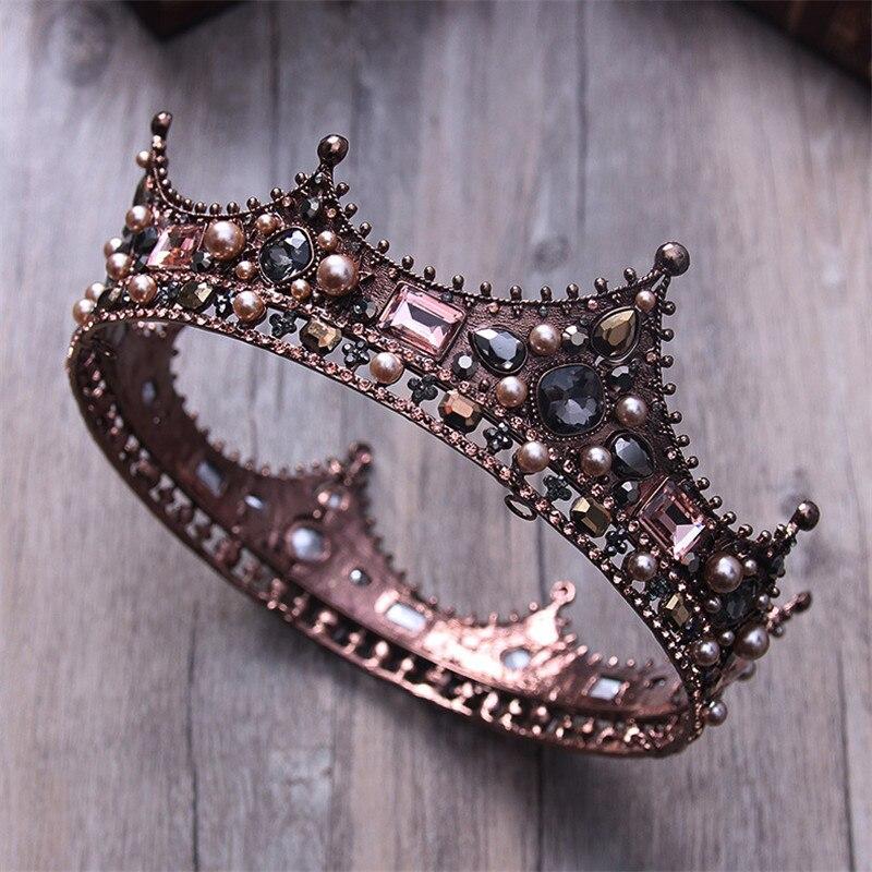 Barroco do vintage tiara nupcial coroa de noiva cristal rainha rei coroa casamento acessórios de jóias de cabelo feminino concurso de formatura headpiece
