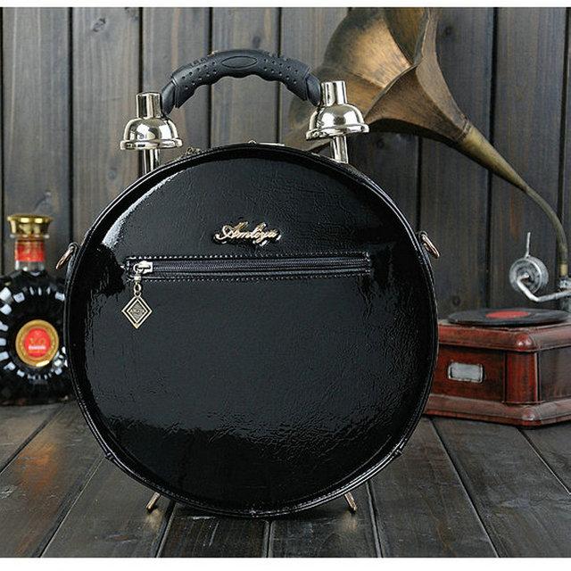 women's unique round shape clock handbag novelty true alarm nobel time machine vintage workable  fun creative shoulder bags
