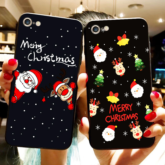 Lovely Santa Claus Christmas Soft TPU Silicone Phone Case for iphone X 6 7 8 Plus Deer Bear Tree Snow For iPhone XR XS Max Cover