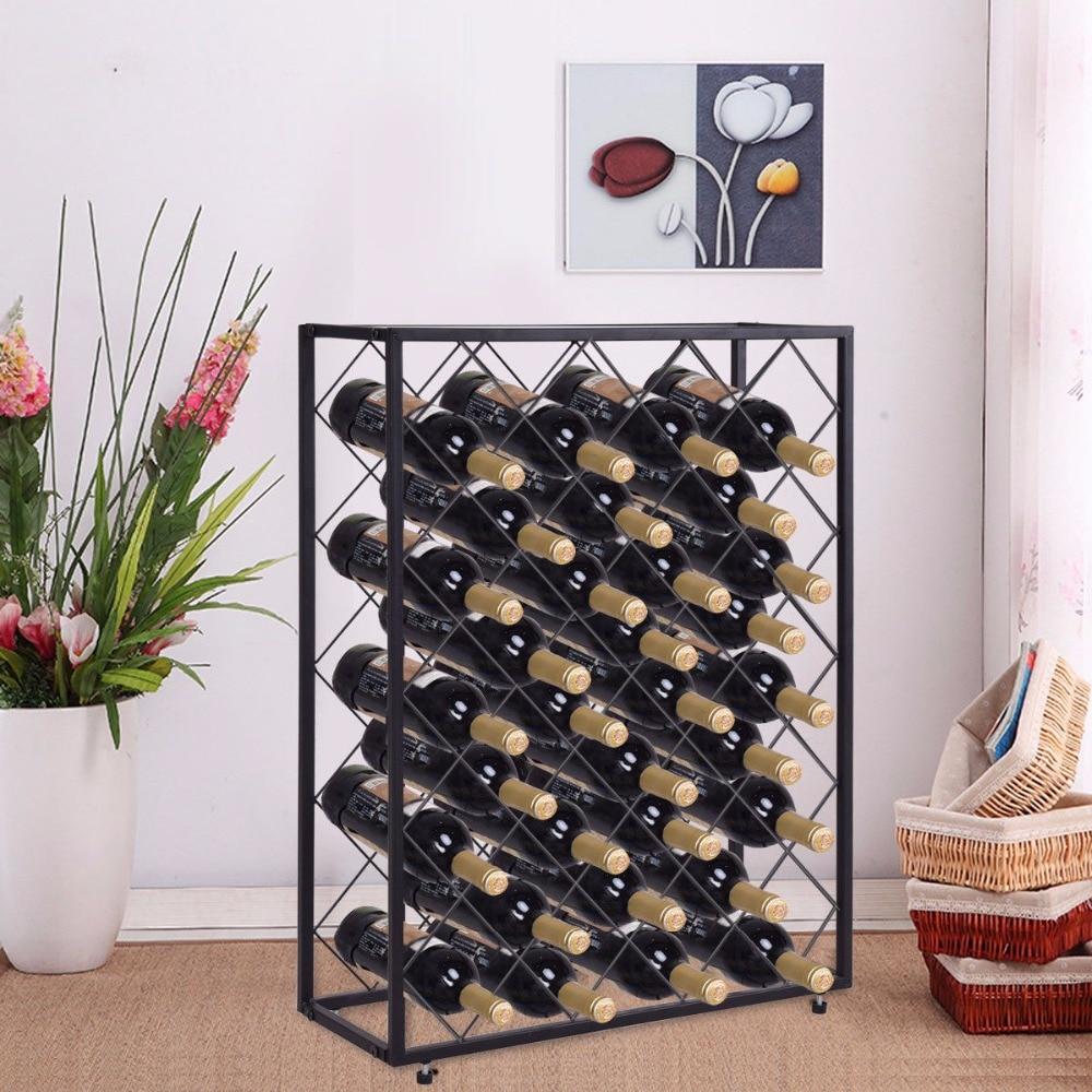 Giantex 32 Bottle Wine Rack Metal Storage Display Liquor Cabinet w/Glass Table Top Black Home Furniture HW56152