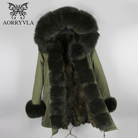 AORRYVLA Women Real Fur Collar Parka Winter 2017 Natural Fox Fur Hooded Long Coat Thick Warm