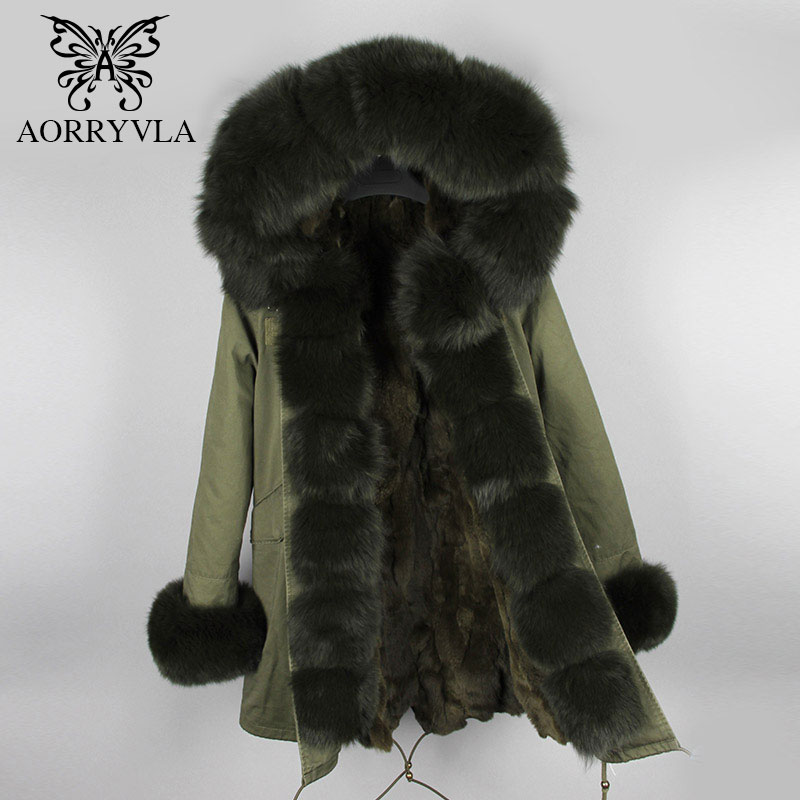 AORRYVLA Women's Fur   Parkas   Winter 2018 Natural Fox Fur Hooded Collar Long Jacket Thick Warm Real Rabbit Fur Lined Lady Coat