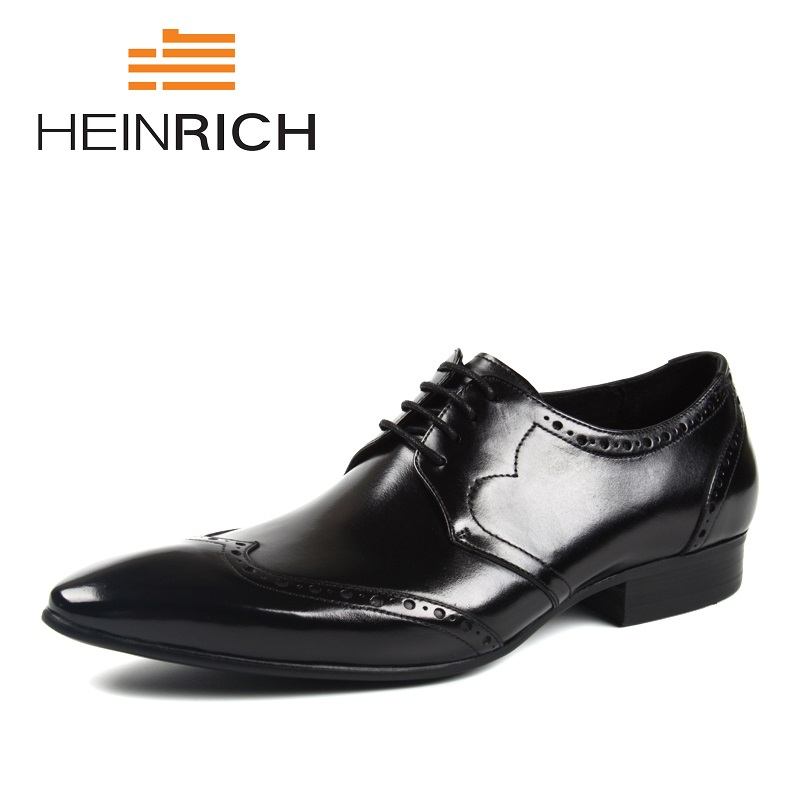 HEINRICH Men Dress Shoes 2018 Derby Italian Leather Man Shoes Luxury Brand Formal Footwear Male Office Shoes Zapatos De Vestir цены онлайн