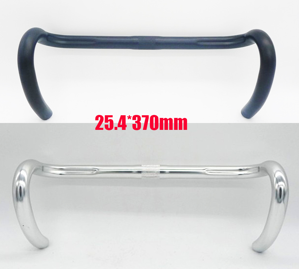cool price 25.4 370MM Anode ailver polish 6061 Aluminum racing road bike fixed gear bent bar bicycle handlebar