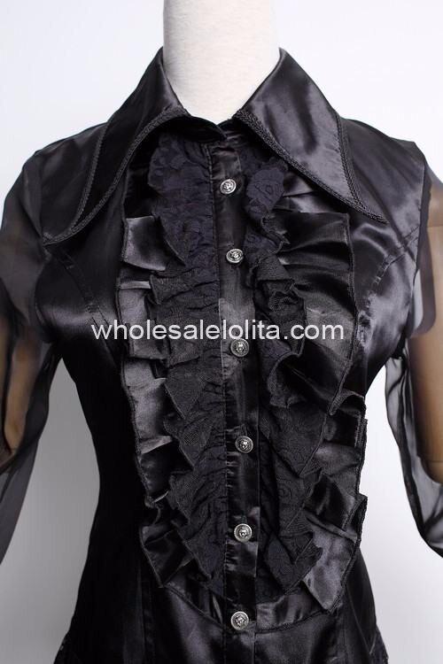 Изготовленная на заказ блузка черного кружева полный Готический Лолита Блузка готический кружева Лолита рубашка