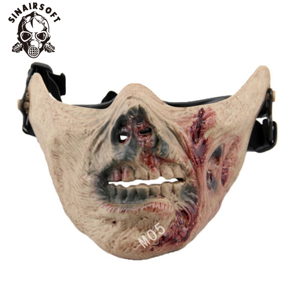Tactical Zombie Skeleton Skull Bone Half Face Mask for Paintball Survival War Game Movie Prop Cosplay Halloween Cosplay Airsoft image