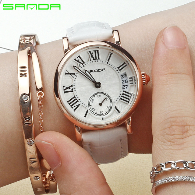 2017 Women watches waterproof luxury brand fashion leather strap quartz watch La