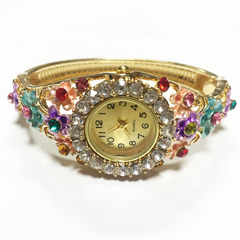Excellent Quality 2016 Cheap PriceWomen Wrist Watches with Colorful Crystal Flower Bracelet Quartz