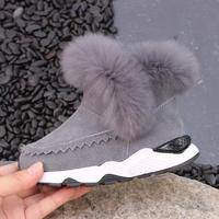 Genuine Leather Ankle Boots Girls Winter New Thick Plush Children S Snow Boots Kids Shoes For