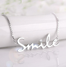 925 Sterling Silver Smile Letter Necklaces & Pendants For Girls Cubic Zircon Diamond Assertion Necklace Jewellery Collier D55