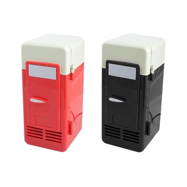 Desktop Mini Fridge USB Gadget Beverage Cans Cooler Warmer Refrigerator With Internal LED Light Car Use Mini Fridge 3
