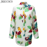 JKKUCOCO Chinese Style Flowers Birds Print Women Shirts Single Breasted Casual Shirt Thin Material Cotton Shirt