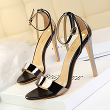 Fashion sexy women shoes nightclub stiletto super high-heeled hollow color matching word with open toe hollow  ladies sandals цена 2017