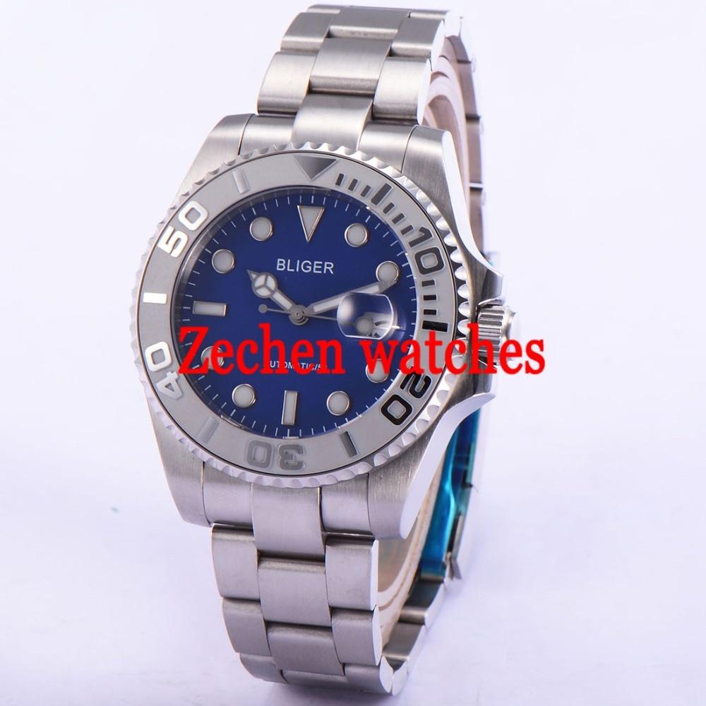 Bliger 43mm mens watch Luminous Sapphire Automatic Date Day Mens Watch Wristwatch цена и фото