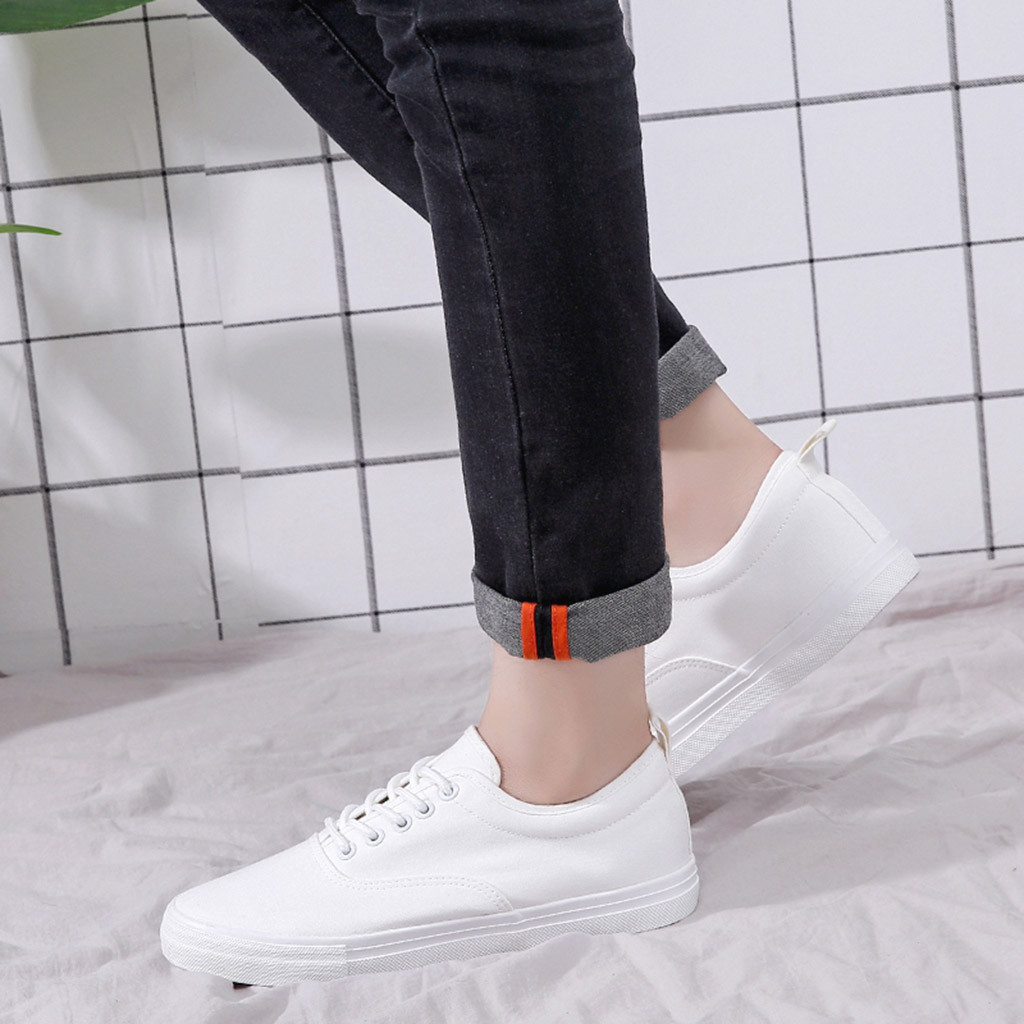 blanc Espadrilles Mocassins Toile Plates 2019 Solides Youyedian Slip Ademend Occasionnelles Noir Hommes G30 Chaussures Sneakers Mode Lacent qIfag