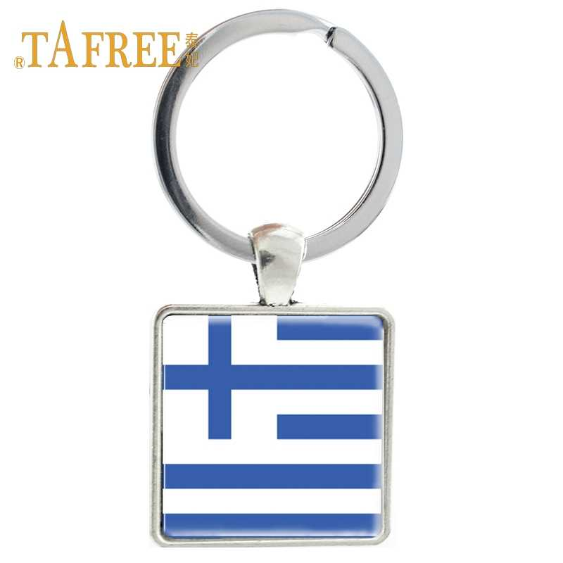 TAFREE fashion flag Square keychain Greece Jordan Kuwait Keyring Iceland key holder keyring Souvenir key chain jewelry FG35