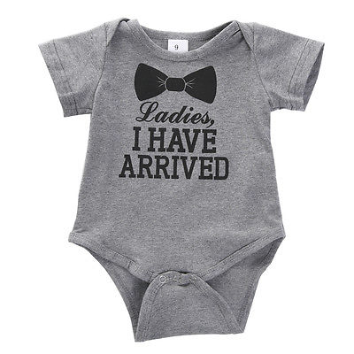 2017 New Baby Boys Girls Bowtie Quote Bodysuit Playsuit Outfits