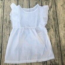 48cf29b68 Atacado 2018 verão meninas do bebê vestido de crianças de alta qualidade de  casamento branco xxx bf flutter vestido seersucker