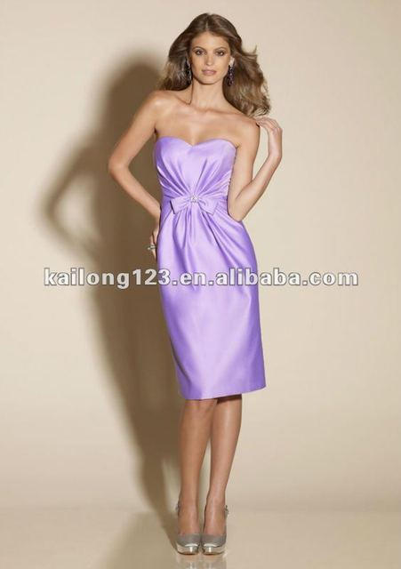 Sweetheart Strapless Sheath Fitted Knee-length Orchid Satin With Bow Bridesmaid Dresses Cheap