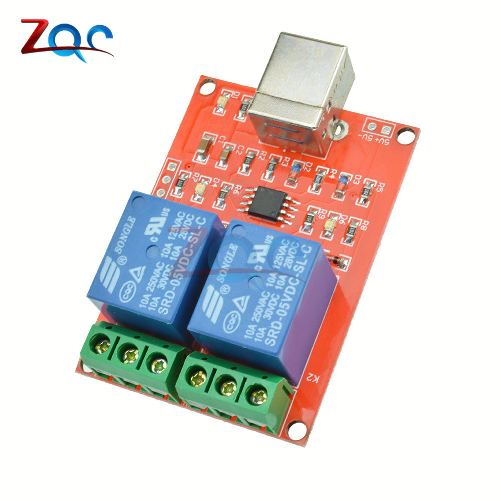 Two Channel 5V Relay Module <font><b>USB</b></font> Control Switch / <font><b>2</b></font> Way 5V Relay Module / Computer Control Switch / PC Intelligent Control image