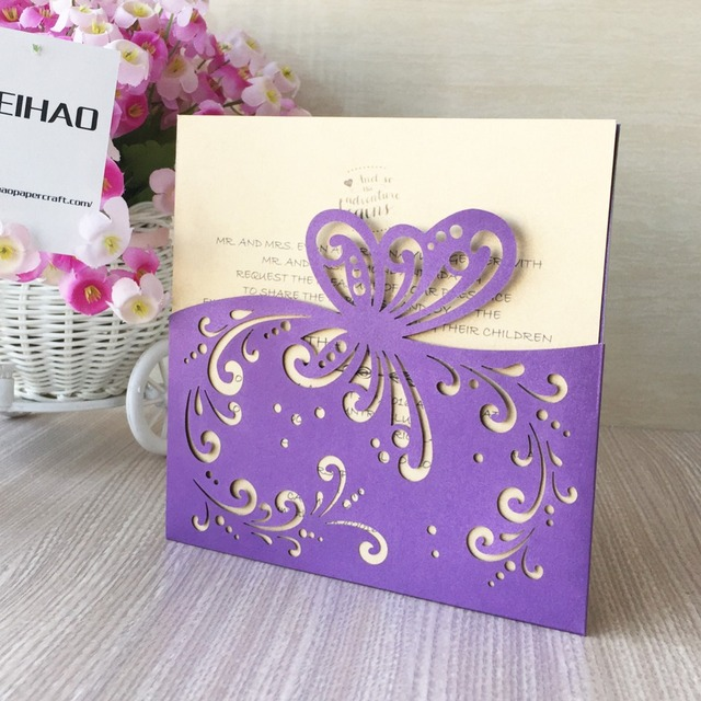 30pcs Free Printable 250gsm Laser Cut Butterfly Paper Craft Party Decoration Wedding Invitations Cards Greeting