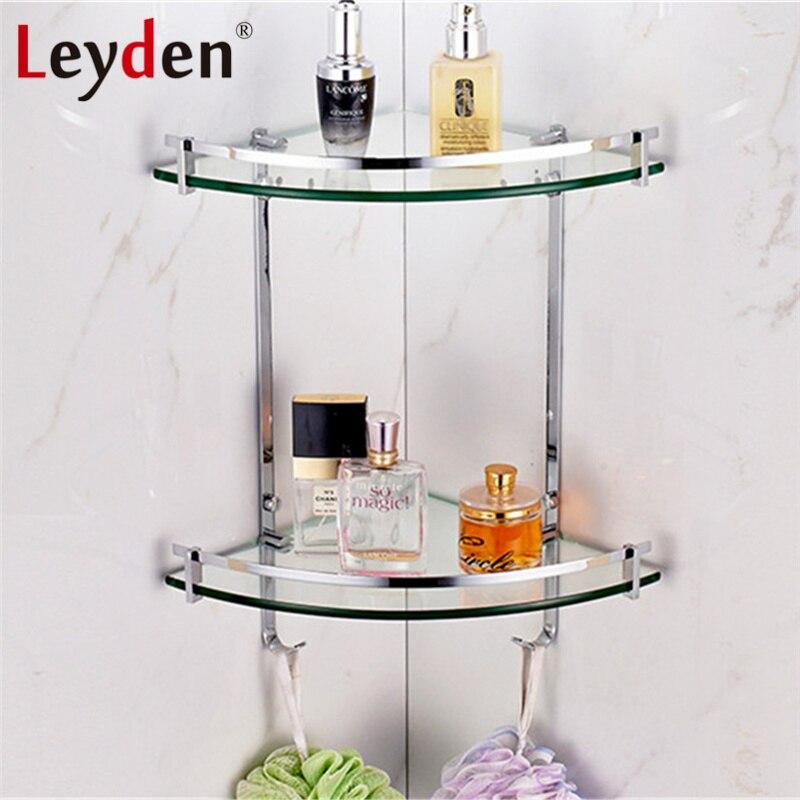 Leyden Stainless Steel Glass Shelf Corner Polished Chrome Wall ...