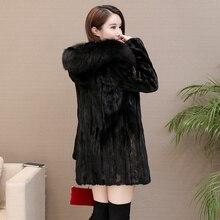 Cappotto in pelliccia di visone da donna nuovo con cappuccio capispalla invernale in vera pelliccia A manica lunga da donna