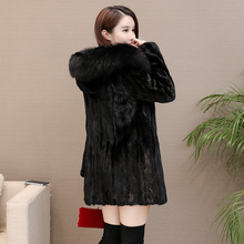 New Womens Pieces Mink Fur Coat With A Hood Full Sleeve Real Fur Winter Outwear  Female