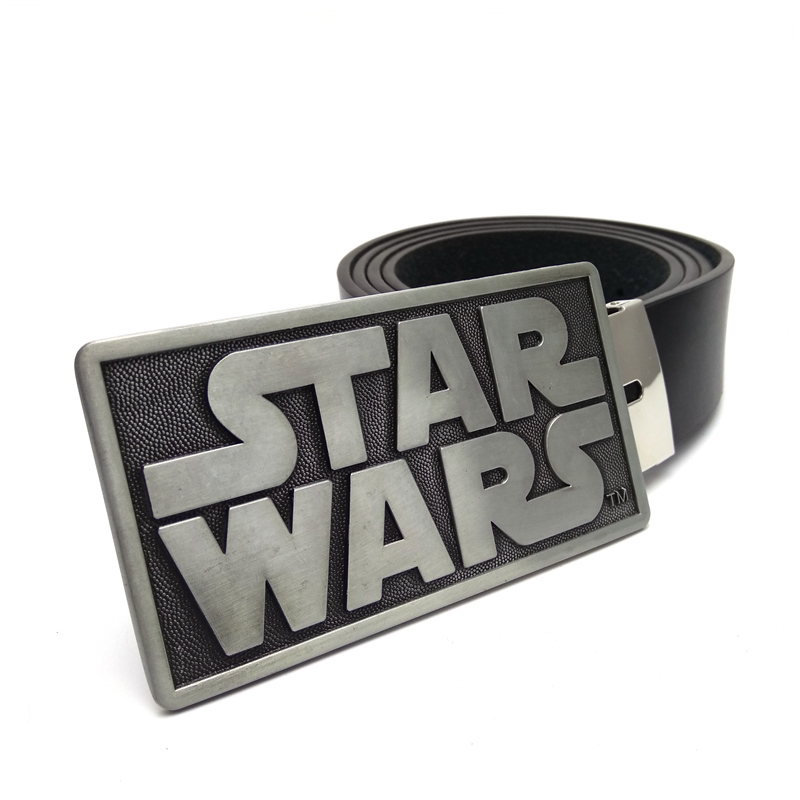 Drop shipping Mens Black PU Leather Belts Star Wars Letters Rectangle Belt Buckle Metal For Men Jeans Casual Cinturon Hombre