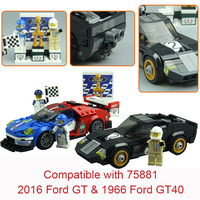 395Pcs Super Racers Series Speed Champions 2016 Ford GT 1966 Ford GT40 Super Car 75881 Building