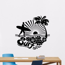 Surfing Wall Decal Removable Sports Sea Palms Surfer Vinyl Sticker Palm Tree Man Art Mural Gym Decor Poster AY455