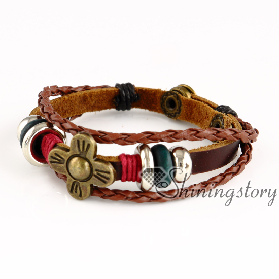 Owl Flower Charms For Jewelry Making Whole Leather Cuff Bracelet Womens Charm Bracelets Mens Black