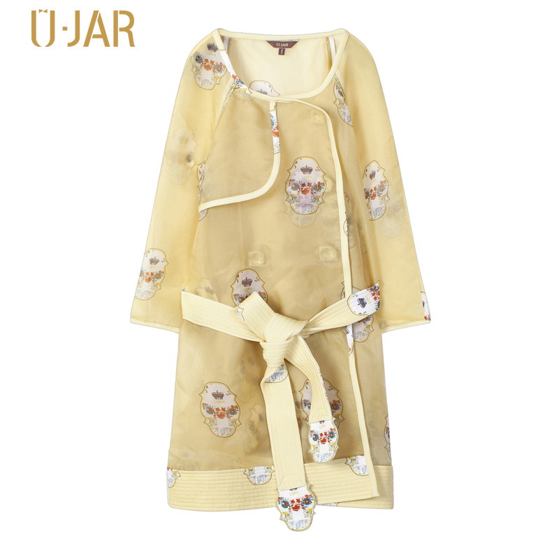 UJAR Women Graffiti Print Windbreaker With Detachable Belt Loose Pattern O-Neck Embroidered Mother Pregnant Women Trench U41N004 детская сумка 004 mother garden