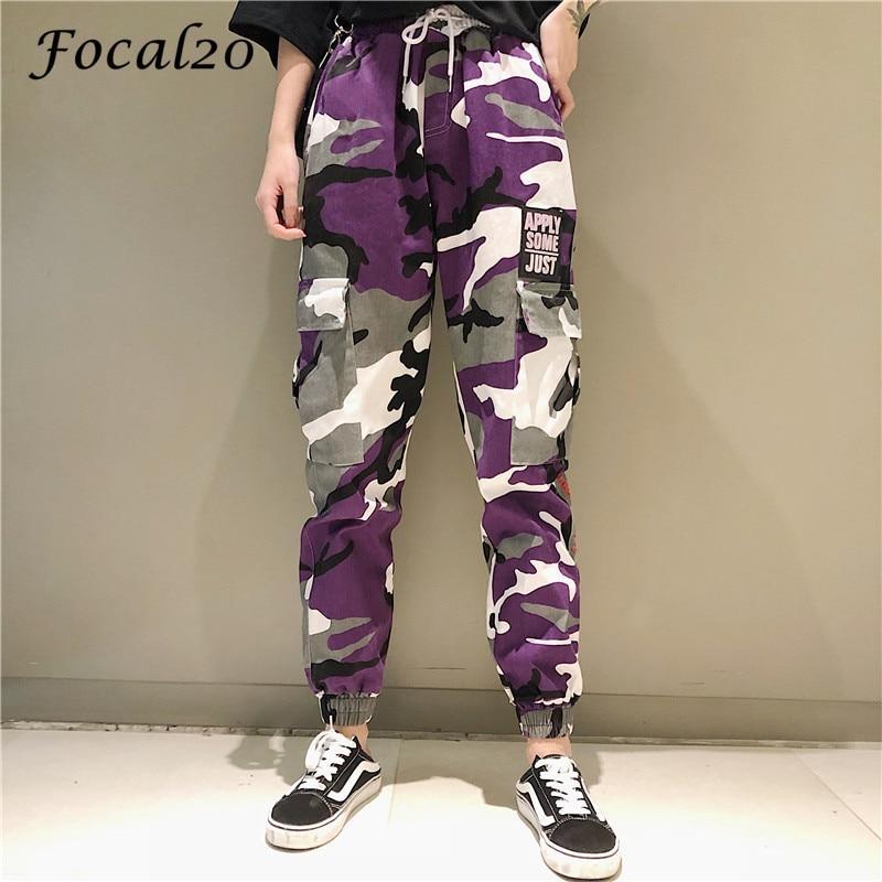Focal20 Streetwear Letter Print Camouflage Women Pants Elastic Waist Pocket Pants Full Length Loose Pants Trousers 2