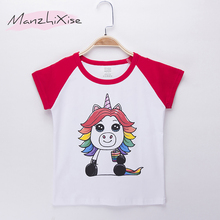 2019 Kids T-shirt For Children Unicorn Cartoon Print Top Cotton Short Girl T Shirts Baby Girls Clothes Boys Tops Tees Camisetas t shirts frutto rosso for girls and boys sm117k021 top kids t shirt baby clothing tops children clothes