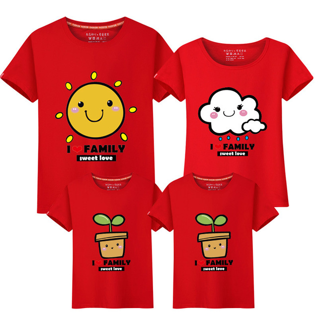 945fb0f51 Sunny Cute Smiling Cartoon Print Holiday Family Reunion Clothes Casual Kids  Costume Family Matching T-