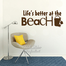 Life Is Better At The Beach Quote Wall Stickers Decal Modern Holiday Decor Cut Vinyl Q267