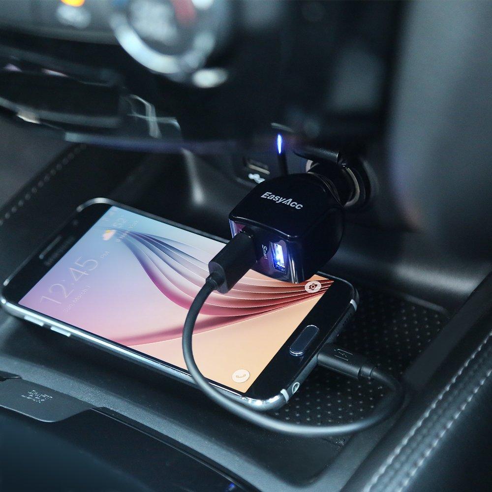 EasyAcc 2.4A 30W Dual USB Car Charger Mendukung Pengisian Cepat Untuk - Aksesori dan suku cadang ponsel - Foto 4