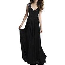 2019Lady  Summer Women's Dress New Lace Stitching Chiffon Sleeveless Pure Color Dress Long Sexy Party Dress  Pleated  V-Neck pure color 1 2 sleeve pleated dress
