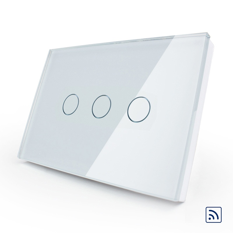 2017 US/AU Standard, Wireless Switch , Touch Switch Crystal Glass Panel, Remote 433.92Hz Touch Screen Light Switch+LED Indicator