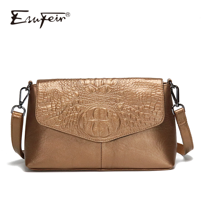 ESUFEIR Genuine Leather Women Messenger Bag Crocodile Pattern Female Shoulder Bag Ladies Crossbody Bag Luxury Handbags Designer vanderwah crocodile pattern leather luxury handbags women bags designer women shoulder bag female crossbody messenger bag sac