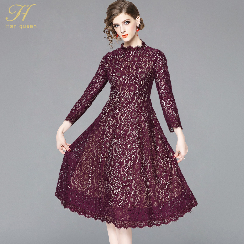 H Han Queen New Arrival 2019 Spring Purple Lace Dress Fashion Europe Style Elegant Slim Ladies Party Women Casual Dresses