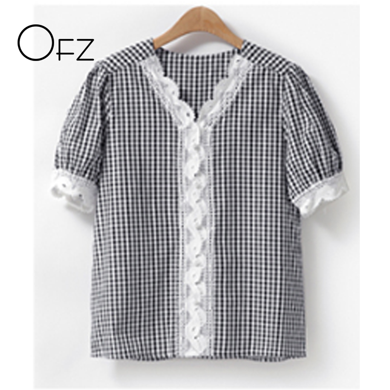 European Style Plus Size 5XL Women Blouse 2018 Summer Fashion Lace Patchwork Female Shirts Puff Sleeve Tops Plaid New Pullovers