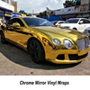 High Stretching Gold Stretchable Full Car Body Stickers Chrome Gold Mirror Car Wrap Vinyls Full Body