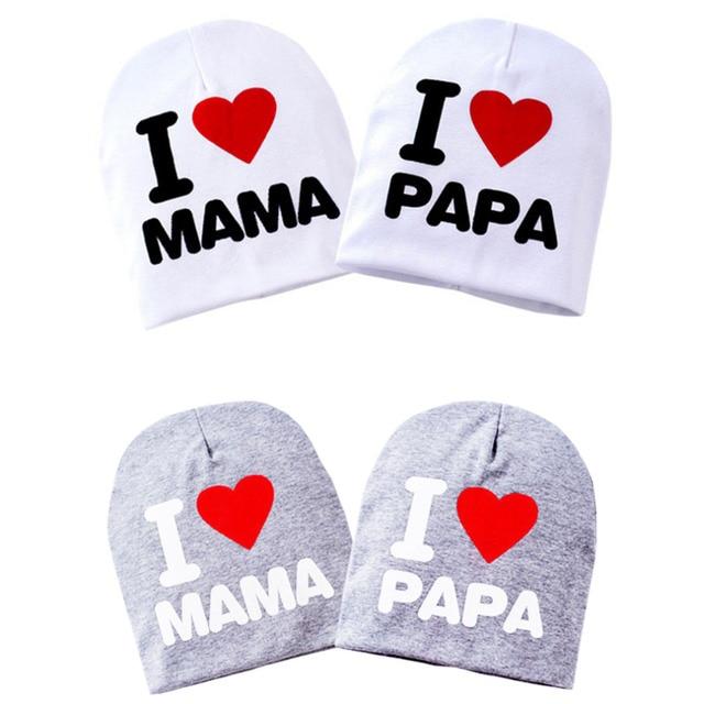 Мальчик девочка ребенок родился Hat Кепки шапочка Любовь Сердце Детские шапочки Дети MAMA/PAPA теплая хлопковая вязаная шапочка