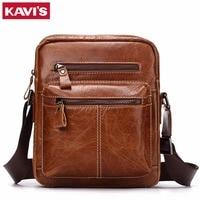 KAVIS Crazy Horse Cowhide Genuine Leather Messenger Bag Men Shoulder Crossbody Handbag Bolsas Sac Sling Chest