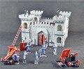 3D educación de bricolaje Assemblage bloques castillo, 12 Solider modelo 2 carro de guerra, antiguas Siege battlefield, auto ensamblaje juguete del bloque, juguetes regalos