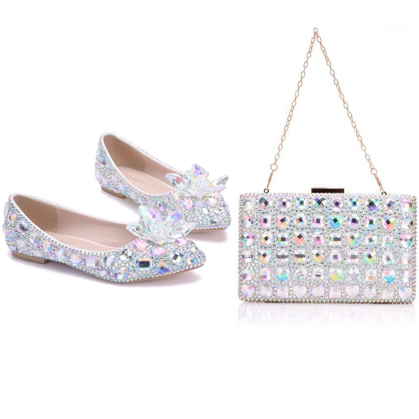 Crystal Queen Crystle Cinderella Shoes Rhinestone Flat Women Shoes Wedding Flats With Matching Bags Bride Purse Crystal Flower crystal queen multicolor flower shining crystal womens flat wedding shoes matching bags clutches flats female lady party shoes
