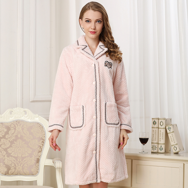 coral fleece sleepwear women for winter 2019new woman  pink blue high quality warm thick home sleepwears flannel robes homewear